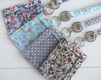 Floral ID Holder, ID Badge Holder, Thin Teacher Lanyard, Back to School