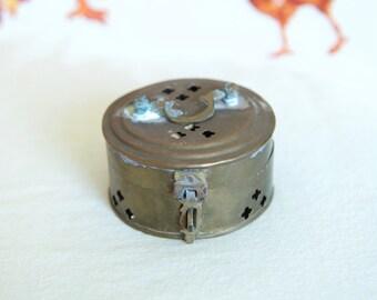 Vintage brass potpourri box or cricket box...small rustic brass box...