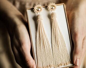 Ivory white beaded tassel earrings Wedding earrings Long bridal earrings Bridesmaid earrings BOHO wedding earrings Swarovski earrings