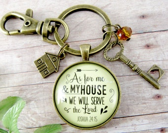 """As For Me and My House We Will Serve the Lord New Home Christian Key Chain First House Gift Wedding Couple Bronze 1.20"""" Glass Round Vintage"""