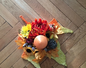 Fall Candle Holder, Fall Candle Decor, Mantel Decor, Table Centerpiece, Candle Leaf Holder, Home Decor, Fall Decoration, Thanksgiving Decor