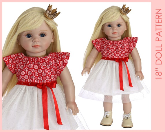 DRESS girl doll clothes pattern pdf, 18 inch doll clothes sewing ...