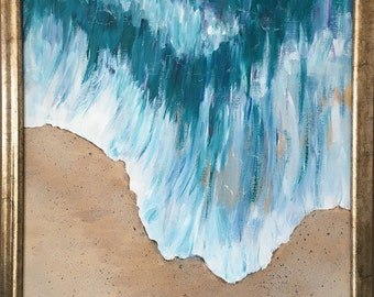 Large original paintng of a Wave, by Heidi Heiser, impressionist modern art, beach motif