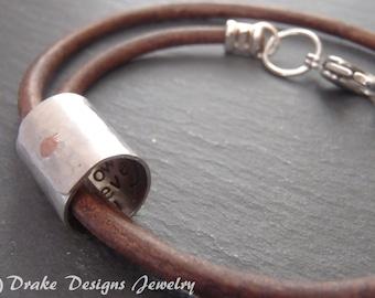 Mens personalized gift | womens or Mens leather bracelet | 3rd anniversary | secret message hidden inside bracelet