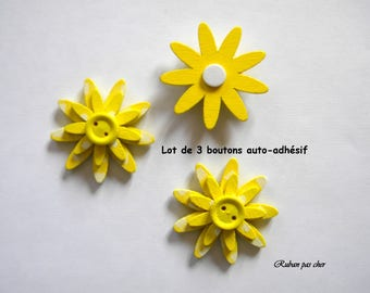3 flowers / buttons for decoration - self adhesive - color yellow - 4 cm (40 mm) in diameter