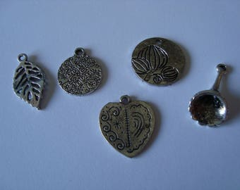 Set of 5 charms of different shapes in silver metal