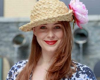 Handmade Bespoke Raffia Hat with Narrow Brim perfect for Summer Holiday