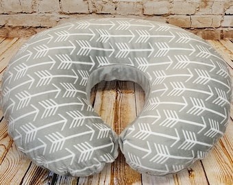 Arrow Print Minky Boppy Pillow Cover Silver - Nursing Pillow Cover