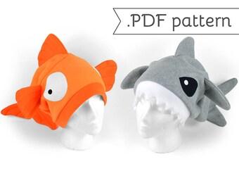 Slouchy Fleece Fish Hat Sewing Pattern .pdf Goldfish Shark Betta Koi Carp