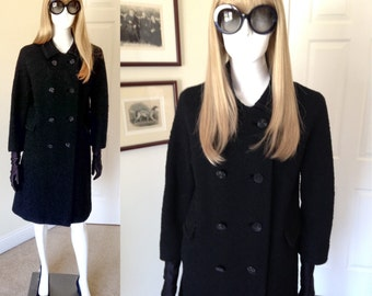 60's Black Boucle Wool Coat, Jackie O Double-breasted  Mid Century Wool Coat, 3/4 Sleeves-  Size 10, 12