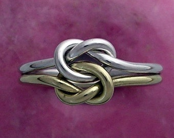 14K and Sterling Silver Double Love Knot Ring in 16 Gauge