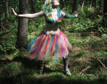 Adult tutu Skirt Rainbow Streamer knee length pride halloween costume piece dance fairy run  - You Choose Size -- Sisters of the Moon