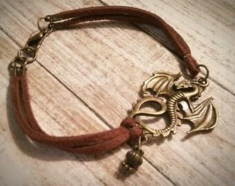 Game of Thrones Bracelet / Dragon Bracelet / Cord Bracelet / Mother of Dragons / Vintage Bracelet