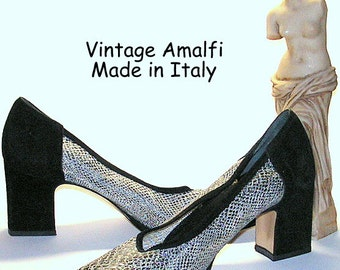 Vintage Shoes - Amalfi Pumps - Black Suede Leather - Silver Snake Print - Mod Sixties