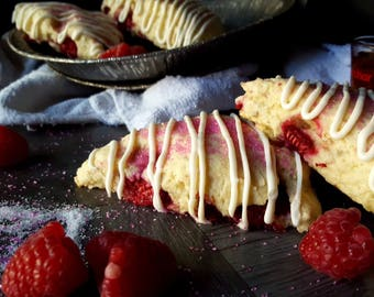 Raspberry Amaretto Cream Scones Dozen (12)