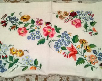 Traditional Hungarian Vintage Hand embroidered pillow cover KALOCSAI design Folk Art hand made Eastern European decorative cushion, pillow
