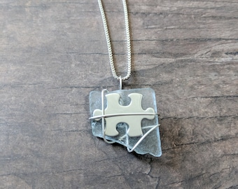 Puzzle Piece Wire Wrapped Beach Glass Necklace Pendant | One Of A Kind Sea Glass Jewelry Pendant | Sea Glass Necklace | Sea Glass