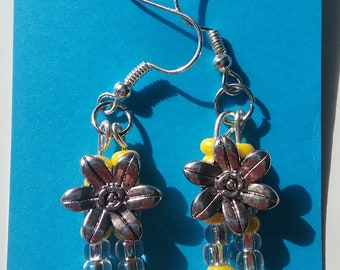 Flower drop earrings with yellow and clear seed beads