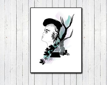 "Goth Girl 11x14"" Print, Cemetery Print, Dead Tree, Fall, Halloween, Witchy Nature Girl, Androgyny, Watercolor, Black and White, Minimalism"