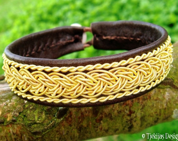 Gold GRANI Sami Viking Bracelet | Unisex Cuff in Antique Brown Leather decorated with 14K Gold Braids | Custom Handmade Nordic Elegance