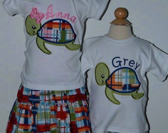 Personalized Madras Sea Turtle Applique Shirt or Bodysuit Girl