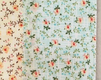 Cotton Fabric, Floral Flower Style, thin and summer fabric, Garment Cotton Fabric- 1/2 Yard (QT1287)