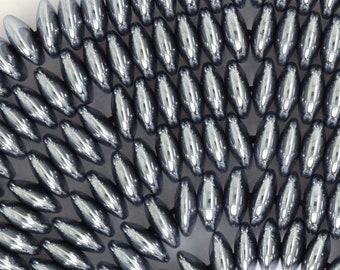 "8mm silver hematite rondelle beads 16"" strand 35514"