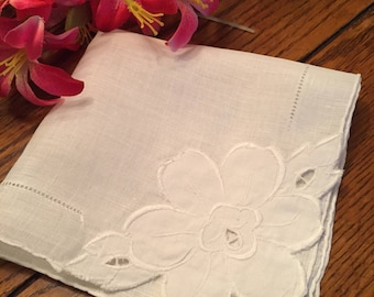 White Hankie Floral Detail in Corner Ladies Vintage Handkerchief