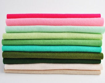 Wool Felt Sheets - 10 pieces - 'Plant Lady' collection - 100% wool felt