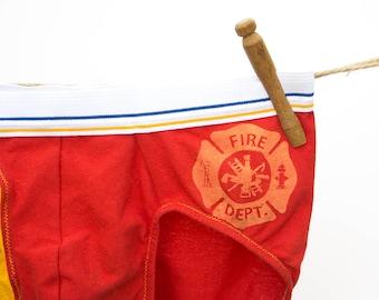 Fire Fighter Men's Handmade Briefs Underwear - Upcycled Cotton - Size XXL (38-40) - Ready to Ship