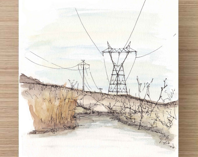 Ink and Watercolor Drawing of Keough Hot Springs - Water, Power Lines, California, Sierra Nevada, Sketch, Art, Pen and Ink, 5x7, 8x10