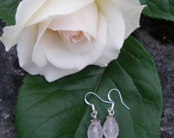 Rose Quartz, sterling silver ear wires, pink gemstone, drop earrings, gift for her, Mother's day gift, hand crafted earrings, Pink earrings