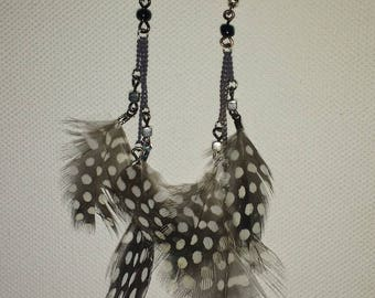 Black and white natural feather earrings