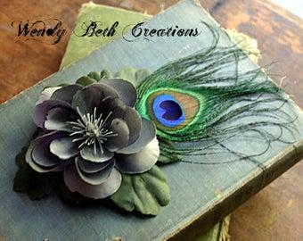 Simple Dove Gray Gardenia Hair Fascinator Clip - Belly Dance, Steampunk, Cosplay, Tribal, Fusion, Bridal, Flower Girl, Boho, Fairy, Peacock