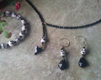 Black Heart Necklace Earrings and Bracelet