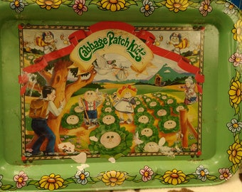 Vintage Tray 1983 Original Appalachian Art Works Cabbage Patch Kids Metal TV Snack Dinner Lunch Activity Tray w/ Fold Up Legs