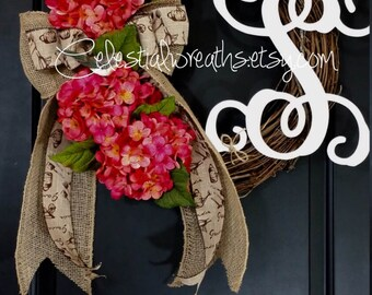 Spring Wreath - Summer Wreath -pink hydrangea wreath - grapevine wreath - Mothers day -front door wreath