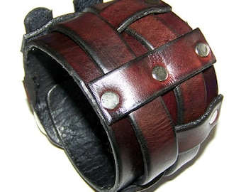 Wide Double Belted Leather Wrist Cuff (122004)
