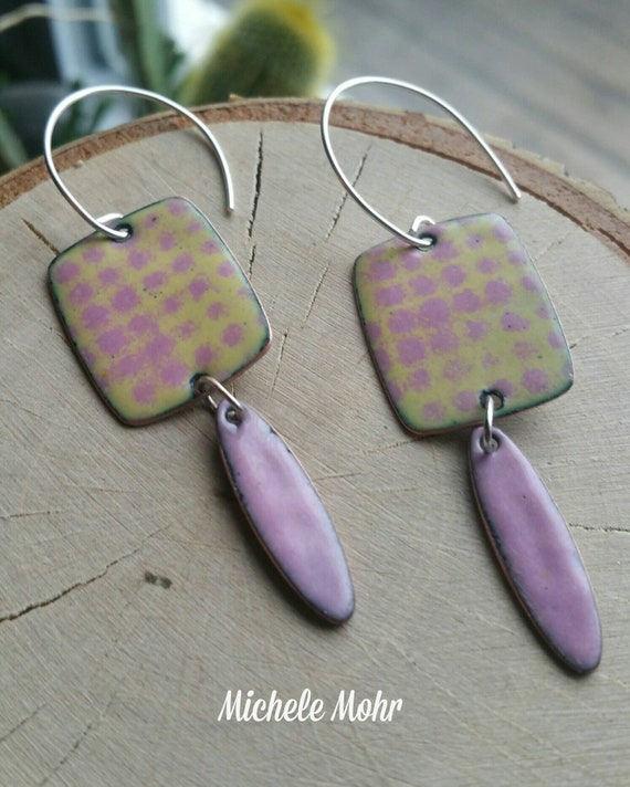 Pretty in Pink Vitreous Enamel pink and green enamel earrings
