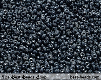25g (2200pcs) Jet Black Rocaille 10/0 (2.3mm) Preciosa Czech Glass Seed Beads
