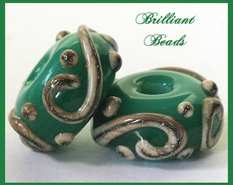 Opal Green and Silvered Ivory Handmade Lampwork Glass Bead Pair SRA, Made To Order