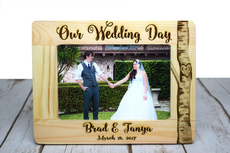 Personalisierte Hochzeit Rahmen Holz verbrannt Bilderrahmen