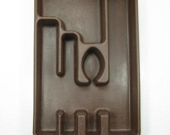 Rubbermaid Cutlery Tray Drawer Organizer Flatware Tray BROWN Vintage Kitchen