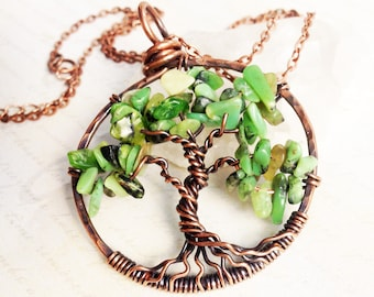 Green Turquoise Tree of Life Necklace, Copper Wire Wrapped lime green gemstone talisman pendant, holiday gift for her, mother's day gift