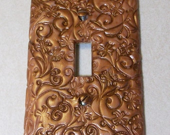 light switch cover antique copper swirls dots and flower design