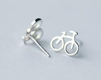 Bike Earrings - Biker Earrings - 925 Sterling Silver - Bicycle Earrings - Bike Jewelry - Silver Earrings - Dainty - Cyclist - Gift Ideas
