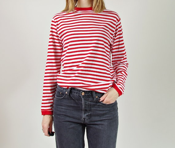 Vtg sailor style red white stripes longsleeve / unisex nautical t-shirt