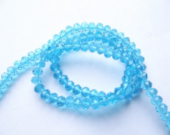 New! 100 lagoon blue faceted Crystal rondelle 4 x 6 mm Marshall-518