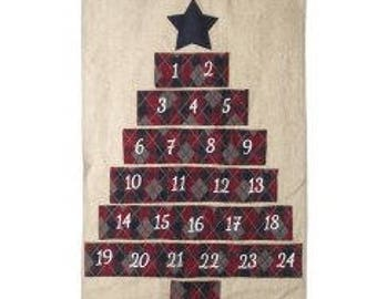 Advent Calendar Christmas , fabric tartan advent calendar , count down to christmas , fabric calendar