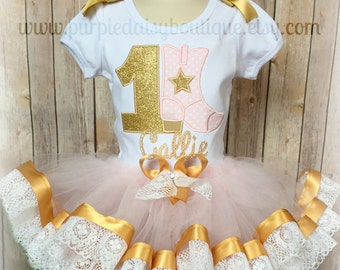 Cowgirl Birthday Outfit - Gold and Pink Birthday Tutu Set - Ribbon Trim Tutu Set - Tutu With Lace - First Birthday - Second Birthday